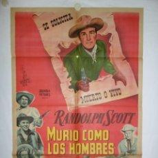 Cine: MURIO COMO LOS HOMBRES - 110 X 75 - 1955 - LITOGRAFICO. Lote 221991027