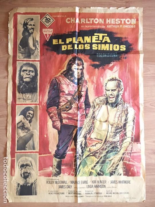 CARTEL DE CINE - POSTER PELICULA - EL PLANETA DE LOS SIMIOS - CHARLTON HESTON - 1968 - 100 X 70 CMS (Cine - Posters y Carteles - Ciencia Ficción)
