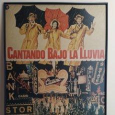 Cine: CARTEL CANTANDO BAJO LA LLUVIA IMPRESO EN MADERA. Lote 222335460