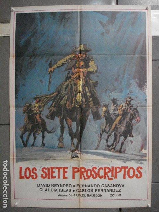 CDO 6575 LOS SIETE PROSCRIPTOS DAVID REYNOSO RAFAEL BALEDON POSTER ORIGINAL 70X100 ESTRENO (Cine - Posters y Carteles - Westerns)