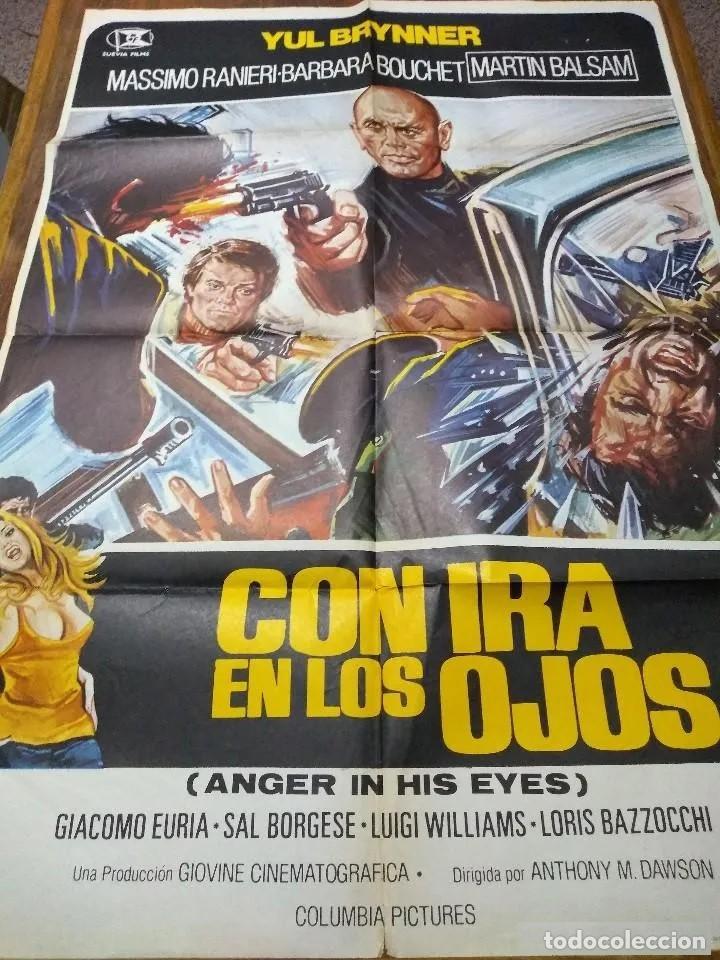POSTER ORIGINAL DEL ESTRENO EN 1976 DE *CON IRA EN LOS OJOS*, POR YUL BRYNNER. INN (Cine - Posters y Carteles - Acción)