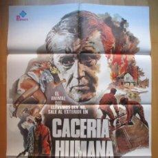 Cine: CARTEL CINE CACERIA HUMANA ROD STEIGER DAVID HUFFMAN 1980 C1941. Lote 222666702