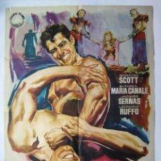 Cine: PUÑOS DE HIERRO, CON GORDON SCOTT. PÓSTER. 69 X 99 CMS.1961. DISEÑO: JANO.. Lote 222845152