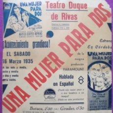 Cine: CARTEL CINE UNA MUJER PARA DOS GARY COOPER TEATRO DUQUE DE RIVAS 1935 CORDOBA CC2. Lote 223222811