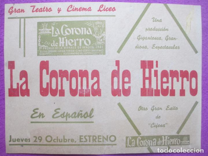 CARTEL CINE LA CORONA DE HIERRO ELISA CEGANI TEATRO CINEMA LICEO CORDOBA MUY ANTIGUO CC10 (Cine - Posters y Carteles - Aventura)