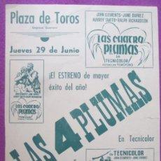Cine: CARTEL CINE LAS CUATRO PLUMAS JOHN CLEMENTS PLAZA DE TOROS CORDOBA ORIGINAL MUY ANTIGUO CC12. Lote 223234780