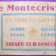 Cine: CARTEL CINE EL CONDE DE MONTECRISTO ROBERT DONAT GONGORA CORDOBA ORIGINAL MUY ANTIGUO CC31. Lote 223442102