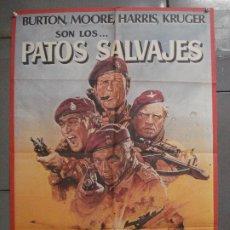 Cinema: CDO 6778 PATOS SALVAJES RICHARD BURTON ROGER MOORE HARRIS POSTER ORIGINAL 70X100 ESTRENO. Lote 223513472