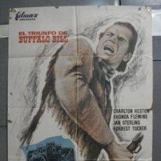 Cine: CDO 6808 EL TRIUNFO DE BUFFALO BILL CHARLTON HESTON RHONDA FLEMING POSTER ORIG 70X100 ESPAÑOL R-64. Lote 223935753
