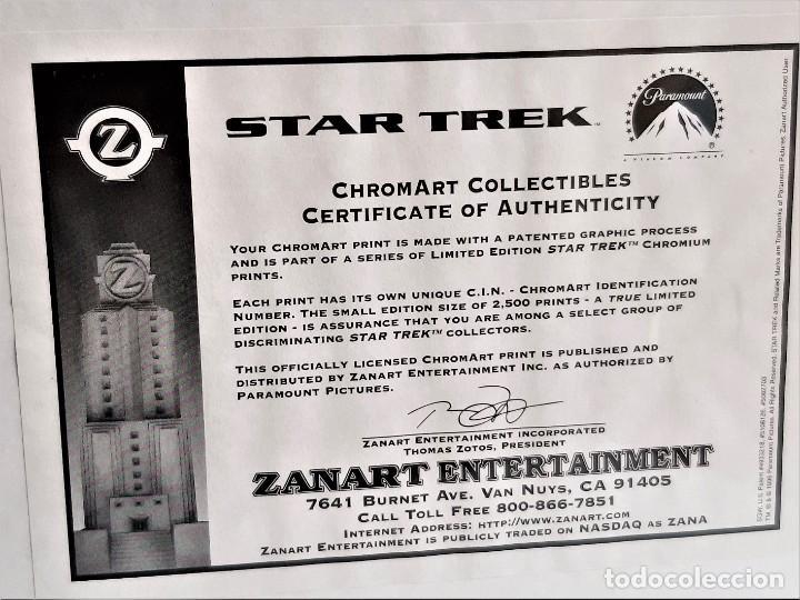 Cine: STAR TREK PINTURA HOLOGRAFICA CHROMART NUMERADA Y FIRMADA + CERTIFICADO PARAMUNT - 28X37.CM TOTAL - Foto 2 - 223994016