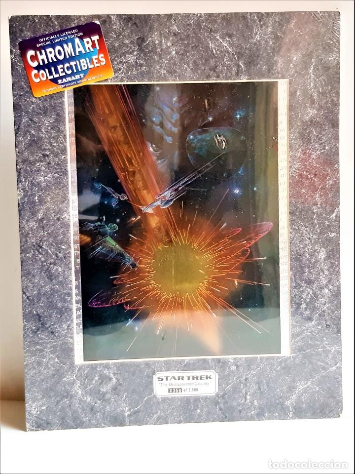 Cine: STAR TREK PINTURA HOLOGRAFICA CHROMART NUMERADA Y FIRMADA + CERTIFICADO PARAMUNT - 28X37.CM TOTAL - Foto 6 - 223994016