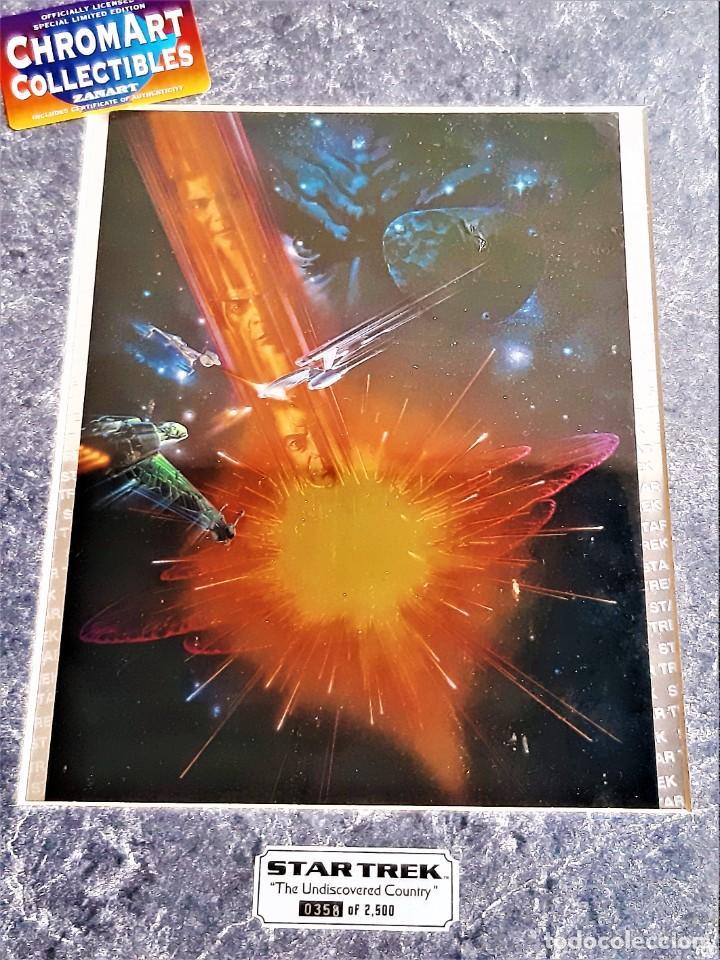 STAR TREK PINTURA HOLOGRAFICA CHROMART NUMERADA Y FIRMADA + CERTIFICADO PARAMUNT - 28X37.CM TOTAL (Cine - Posters y Carteles - Ciencia Ficción)