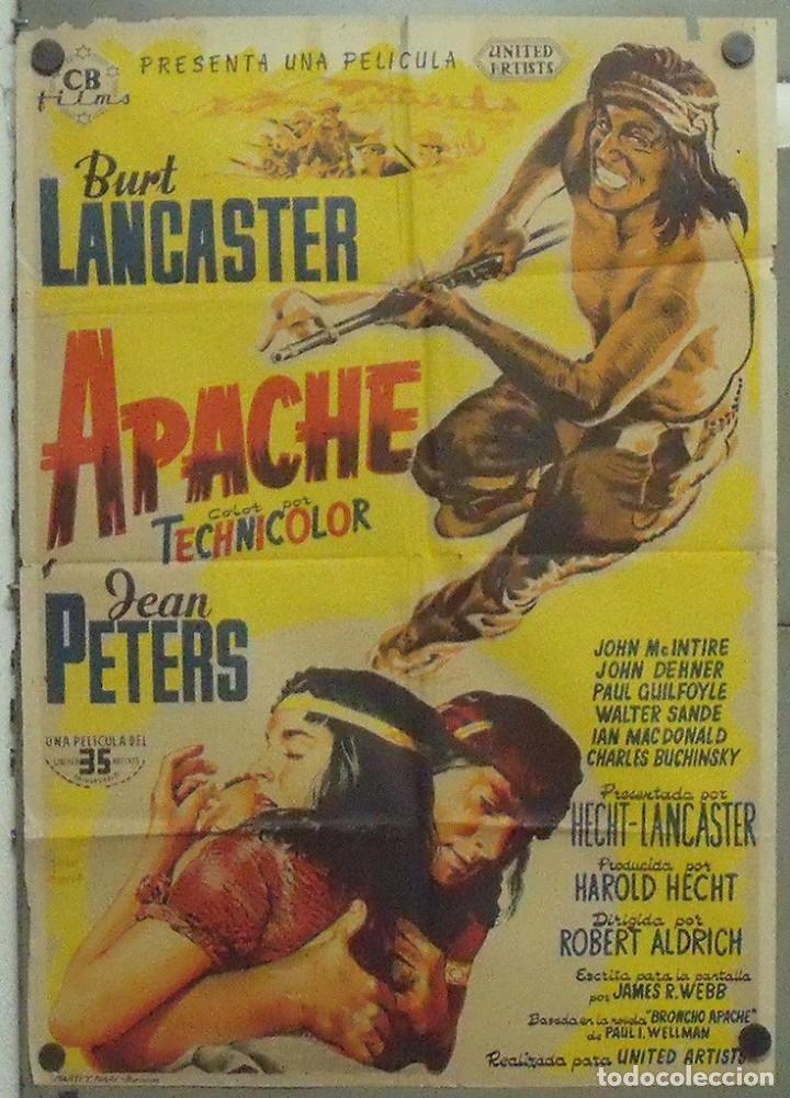 OO00D APACHE BURT LANCASTER JEAN PETERS JOSE MARIA POSTER ORIGINAL 70X100 ESTRENO LITOGRAFIA (Cine - Posters y Carteles - Westerns)