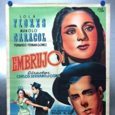 Cine: EMBRUJO - LOLA FLORES, MANOLO CARACOL, FERNANDO FERNAN GOMEZ - ILUSTR: LLOAN, AÑO 1957 - LITOGRAFIA. Lote 224333997