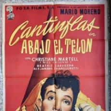 Cine: CARTEL CINE ABAJO EL TELON CANTINFLAS MCP LITOGRAFIA ORIGINAL CC1. Lote 224350383
