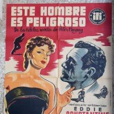 Cine: CARTEL CINE ESTE HOMBRE ES PELIGROSO EDDIE CONSTANTINE VICIANO LITOGRAFIA ORIGINAL CC1. Lote 224354137