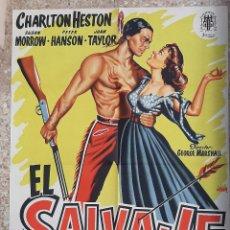 Cine: CARTEL CINE EL SALVAJE CHARLTON HESTON JANO LITOGRAFIA ORIGINAL CC1. Lote 224354742