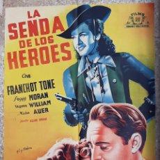 Cine: CARTEL CINE LA SENDA DE LOS HEROES FRANCHOT TONE GIL Y FABRA LITOGRAFIA ORIGINAL CC1. Lote 224357068