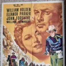 Cine: CARTEL CINE FORT BRAVO WILLIAM HOLDEN ELEANOR PARKER MGM LITOGRAFIA ORIGINAL CC1. Lote 224361678