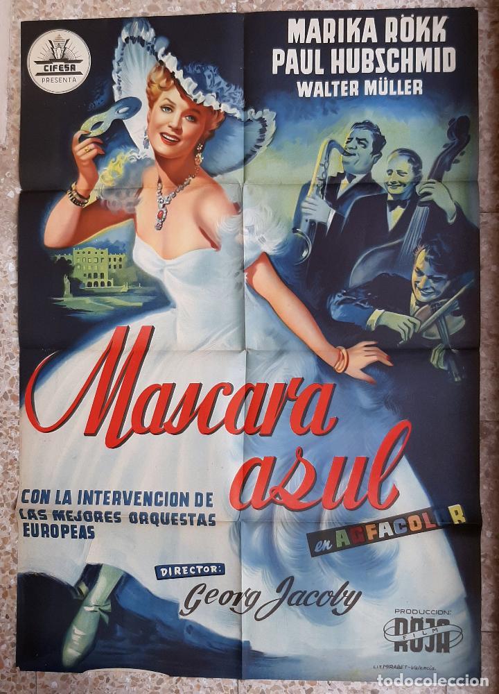 CARTEL CINE MASCARA AZUL MARIKA ROKK PAUL HUBSCHMID LITOGRAFIA ORIGINAL CC1 (Cine - Posters y Carteles - Comedia)