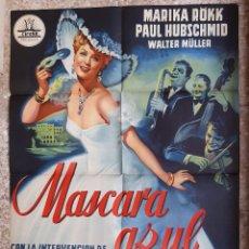 Cine: CARTEL CINE MASCARA AZUL MARIKA ROKK PAUL HUBSCHMID LITOGRAFIA ORIGINAL CC1. Lote 224362243