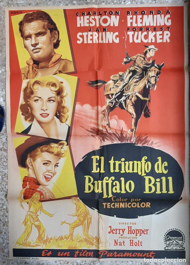 CARTEL CINE EL TRIUNFO DE BUFFALO BILL CHARLTON HESTON ALBERICIO LITOGRAFIA ORIGINAL CC1 (Cine - Posters y Carteles - Westerns)