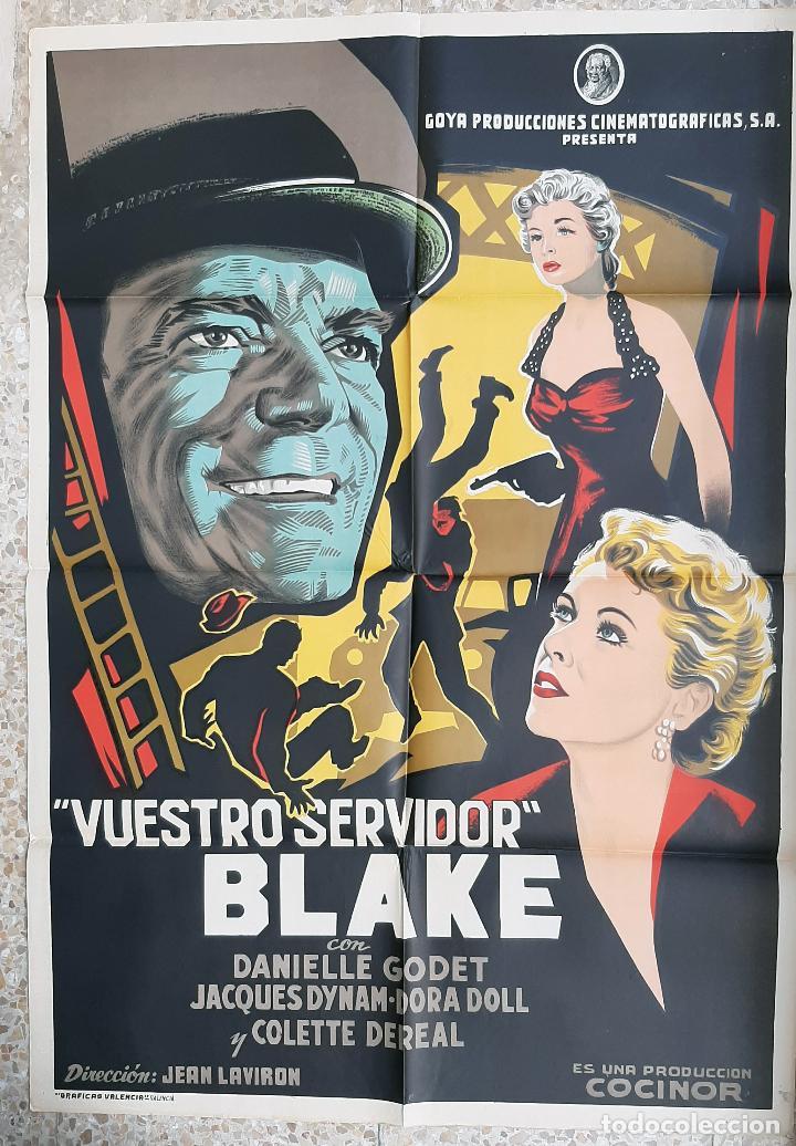 CARTEL CINE VUESTRO SERVIDOR BLAKE EDDIE CONSTANTINE LITOGRAFIA ORIGINAL CC1 (Cine - Posters y Carteles - Acción)