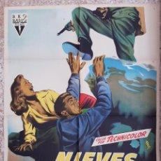 Cine: CARTEL CINE NIEVES TRAIDORAS VICTOR MATURE PIPER LAURIE MCP LITOGRAFIA ORIGINAL CC1. Lote 224365057