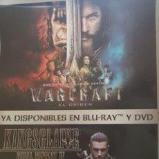 Cine: CARTEL DOBLE ORIGINAL VIDEOCLUB. WARCRAFT EL ORIGEN Y FINAL FANTASY KINGSGLAIVE. MIDE 98 X 67,5. Lote 224771202