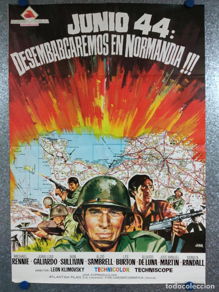 JUNIO 44: DESEMBARCAREMOS EN NORMANDÍA. MICHAEL RENNIE, BOB SULLIVAN, AÑO 1975. POSTER ORIGINAL (Cine - Posters y Carteles - Bélicas)