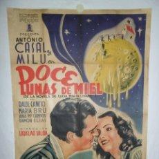 Cine: DOCE LUNAS DE MIEL - 110 X 75CM - 1944 - LITOGRAFICO. Lote 225235535