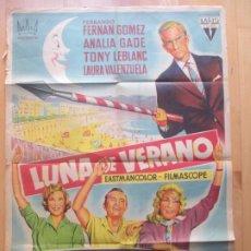 Cine: CARTEL CINE LUNA DE VERANO FERNANDO FERNAN GOMEZ ANALIA GADE SOLIGO LITOGRAFIA ORIGINAL C1957. Lote 225238610