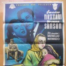 Cine: CARTEL CINE TORMENTO AMADEO NAZZARI YVONNE SANSON ALE LITOGRAFIA ORIGINAL C1960. Lote 225241115