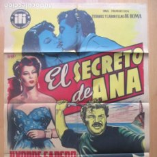 Cine: CARTEL CINE EL SECRETO DE ANA YVONNE SANSON IRENE GALTER VICIANO LITOGRAFIA ORIGINAL C1962. Lote 225242900