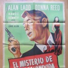 Cine: CARTEL CINE EL MISTERIO DE UNA DESCONOCIDA ALAN LADD DONNA REED ALBERICIO LITOGRAFIA ORIGINAL C1968. Lote 225248053