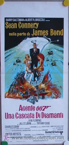 QP15 DIAMANTES PARA LA ETERNIDAD JAMES BOND 007 SEAN CONNERY POSTER ORIGINAL ITALIANO 33X70 (Cine - Posters y Carteles - Acción)