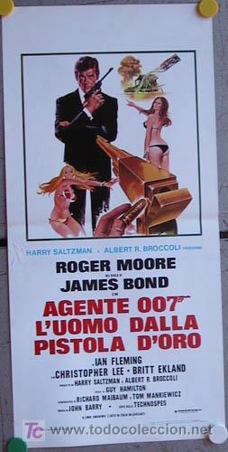 WB81 EL HOMBRE DE LA PISTOLA DE ORO JAMES BOND 007 ROGER MOORE POSTER ORIGINAL ITALIANO 33X70 (Cine - Posters y Carteles - Acción)