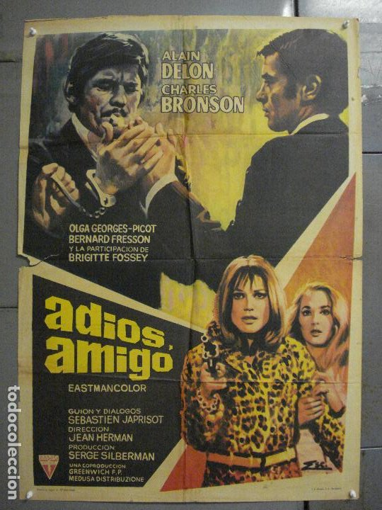 CDO 7157 ADIOS AMIGO ALAIN DELON CHARLES BRONSON POSTER ORIGINAL 70X100 ESTRENO (Cine - Posters y Carteles - Acción)