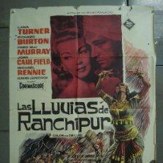 Cine: CDO 7191 LAS LLUVIAS DE RANCHIPUR LANA TURNER RICHARD BURTON POSTER ORIGINAL 70X100 ESTRENO. Lote 226343590