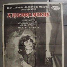 Cine: CDO 7214 A HIERRO MUERE LUIS PRENDES JOSE NIETO OLGA ZUBARRY POSTER ORIGINAL 70X100 ESTRENO. Lote 226363420