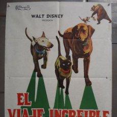 Cine: CDO 7358 EL VIAJE INCREIBLE WALT DISNEY PERROS GATO SIAMES POSTER ORIGINAL 70X100 ESTRENO. Lote 227055685