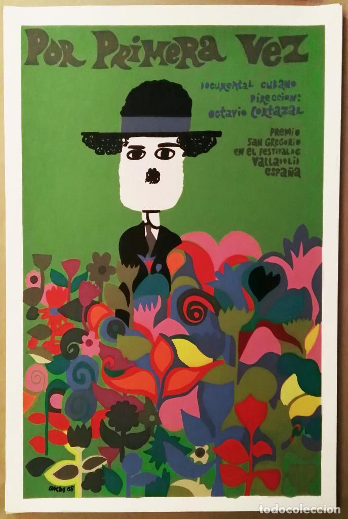 POR PRIMERA VEZ - SERIGRAFÍA ORIGINAL IMPRESA A MANO - CARTEL DE CINE 1968 POR BACHS - ICAIC CUBA (Cine - Posters y Carteles - Documentales)