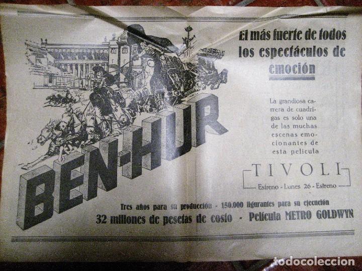 CARTEL PELICULA BEN HUR CINE TIVOLI .PAGINA DOBLE DE REVISTA DE 1928 EN TRASERA PUBLI REY DE REYES (Cine - Posters y Carteles - Acción)