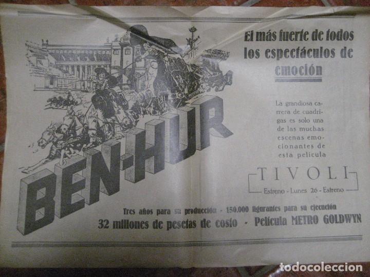 Cine: cartel pelicula ben hur cine tivoli .pagina doble de revista de 1928 en trasera publi rey de reyes - Foto 2 - 228897205