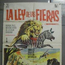 Cine: CDO 7693 LA LEY DE LAS FIERAS DOCUMENTAL AFRICA SALVAJE SERENGETI POSTER ORIGINAL 70X100 ESTRENO. Lote 229577770