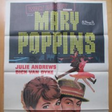 Cine: CARTEL CINE, MARY POPPINS, WALT DISNEY, JULIE ANDREWS, DICK VAN DYKE, 5 OSCAR, 1976, C1368. Lote 230201800