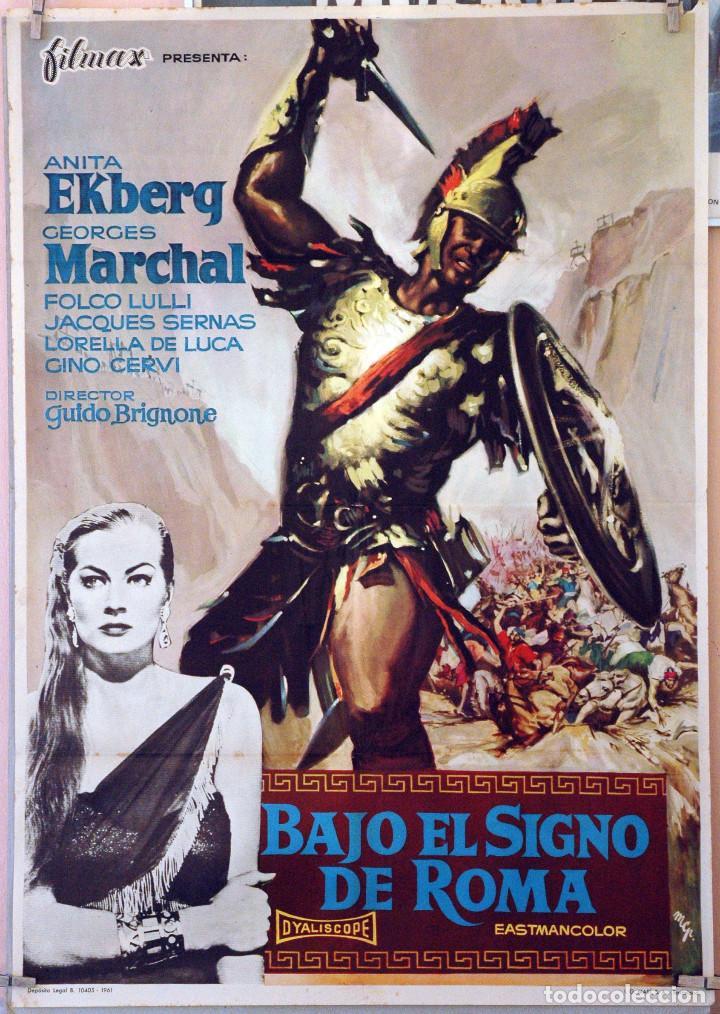 BAJO EL SIGNO DE ROMA. ANITA EKBERG. CARTEL ORIGINAL 1961. 100X70 (Cine - Posters y Carteles - Bélicas)