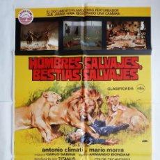 Cinema: ANTIGUO CARTEL CINE HOMBRE SALVAJE BESTIAS SALVAJES CLASIFICADA S 1978 JANO R183. Lote 231203705