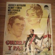 Cine: CARTEL ORIGINAL GUERRA Y PAZ, AUDREY HEPBURN, HENRY FONDA, ALBERICIO. Lote 231890025