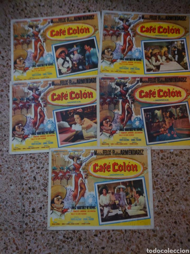 MARÍA FÉLIX 5 CARTELERAS MEXICANAS 32 X 42 CTMS DE LA PELÍCULA CAFÉ COLÓN... (Cine - Posters y Carteles - Comedia)